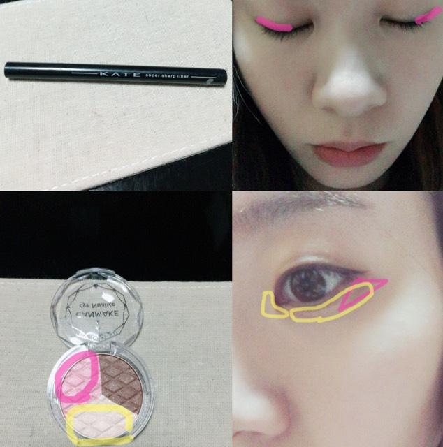 ①KATEの極細ライナーの茶色を黒目の上からの目尻まで引きます。ハネすぎに注意しスーッと引くとナチュラルです。 ②CANMAKEのアイニュアンスのピンクを目尻に塗ります。アイラインの下に三角を作るように塗ってください。次にホワイトを目頭にくの字と、涙袋に引きます。ピンクのシャドウまで被るように塗ってください。