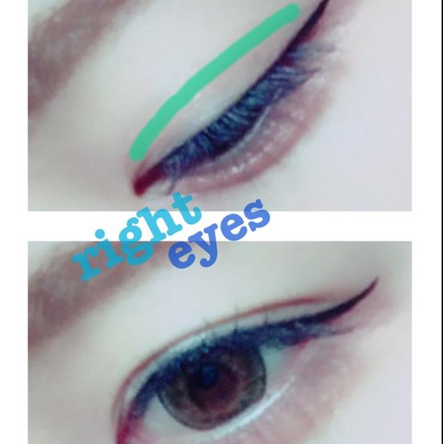 ・右目・ こっちは元々凄い二重幅狭くてメイクすると左目との差が出来てしまうので気が向いた時だけアイテープでいじってます。 緑のラインに百均のアイテープを長さとかいじらんと全部はります。 こうすることによって目をカッと開いた時に両目とも二重幅がほぼ同じになります