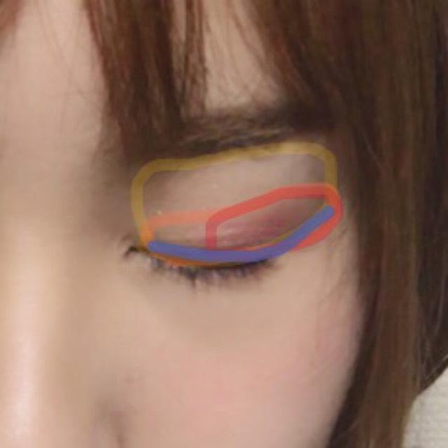アイホールにMACのアイシャドウの左下の色を、二重幅に右下のブラウンを、目尻側にキャンメイクのアイシャドウのピンクを薄くのせます。アイライナーは普通に。