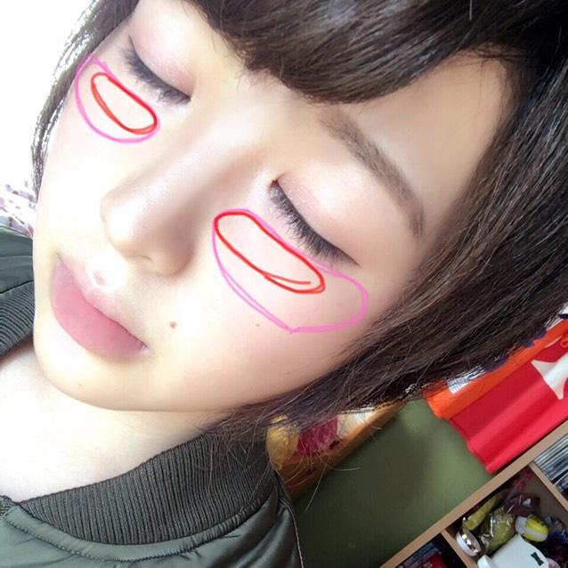 *チークは赤のクリームチークをピンクのところに  *赤のところに重ね塗り