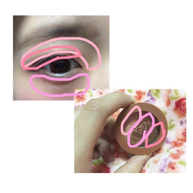 雑な説明ですが  こんな感じに色を入れてます  一番薄い色を上瞼全体と鼻と目の間の凹みに入れ  一番濃い色を黒目の当たりから目の端に  二番目に濃い色を目の下にのせ目を大きく見せました!!