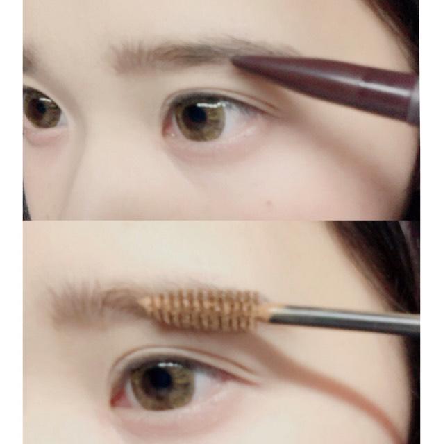 ペンシルで眉尻真ん中を書き、マスカラを逆毛を立てるように塗りまゆの形を整えるように塗ります