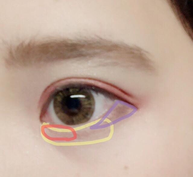 ①黄色の部分は目の3分の2を意識して塗ります ②薄めにさっと目頭から細く塗ります ③三角を意識してできるだけ細長い三角形を意識します。 太い三角だとちょっとおかしくなります