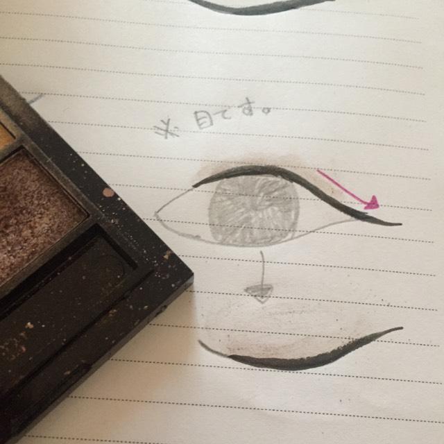 つぎにアイシャドウです。 茶色のアイシャドウでアイラインをぼかすように書きます。 見にくいですがだんだん薄くしていきます