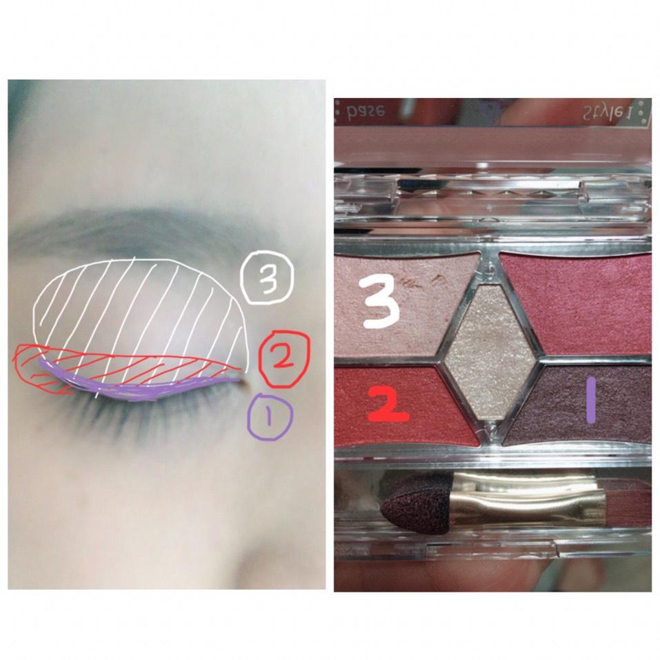 アイシャドウは薄いカラーからのせていきます。 3→2→1 です:;(∩´﹏`∩);: 2の赤シャドウは目尻までいれてきます 1はアイライナーを入れるところに少しぼかしめでいれていきます