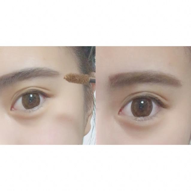 その後 自分好みのカラーの眉毛マスカラで眉毛に色をつけます♡  まず、眉毛を逆立てるようにぬり、その後眉毛を整えます♡