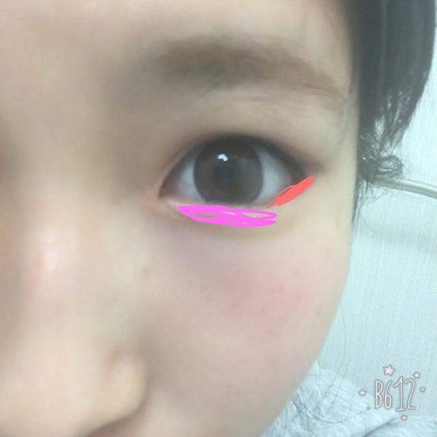 下まぶたは、ピンクっぽい色を目頭に、ブラウンを目のキワに! 涙袋をつくろ