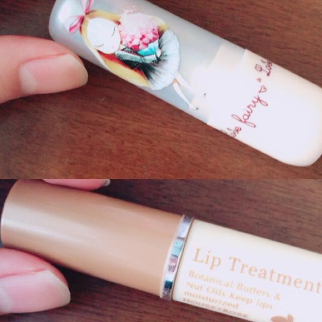 口元はリップクリームだけです。 まず下のハウスオブローゼのリップトリートメントを塗ります。次に上のperipera(韓国コスメ)の1番を塗ります。 periperaのリップクリームは、唇の温度によって色が変わります。