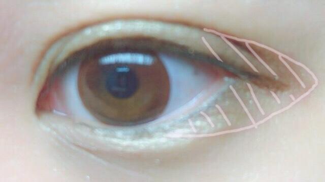 ②の時にタレ目に見えるように目尻に茶色いシャドーを塗る。  アイライナーは目の形に沿ってタレ目になるように下げて描く。  最後に涙袋に白いシャドーを指でのせて完成。