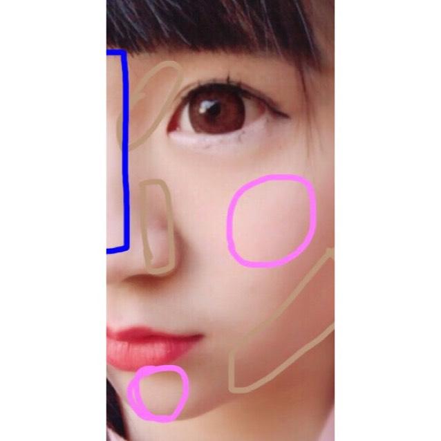 ピンク→チーク 青→ハイライト 茶色→シューティング  です☆チークはマジョマジョのを軽くポンポンとのせほんのりピンク色に……♡