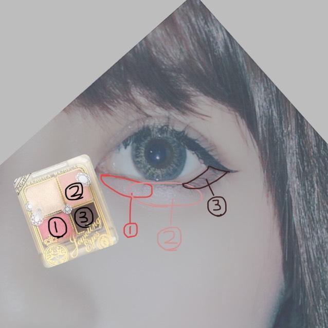 そしたら ①を涙袋の目頭に。 ②を涙袋の中心に塗りなじませたら。 ③を目尻に塗ります。