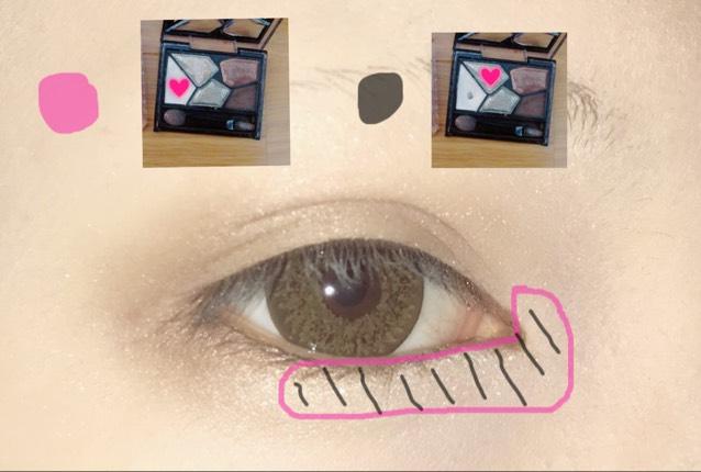 ピンク丸の♡→線引いているところまで。  黒丸の♡→ピンクでした上からします。ラメラメです。  (ケイト