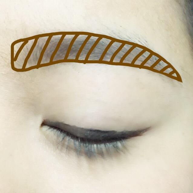 茶色で太めに眉毛をかき、ぼかします。  ※眉頭は四角めにします。角度は目とほぼ並行か少し下げ、眉山はつくりません。