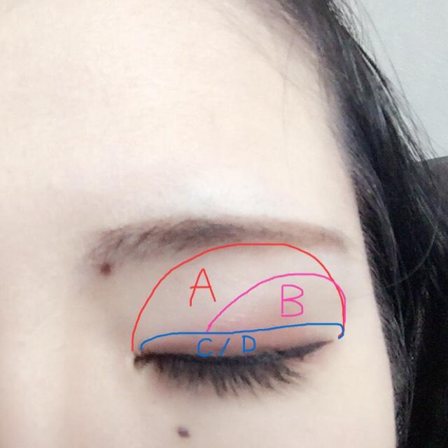 ①アイホール全体にAを指で乗せる ②Bを目尻から真ん中までチップで幅広く塗る ③CとDをお好みで使用しまつ毛の生え際に載せる