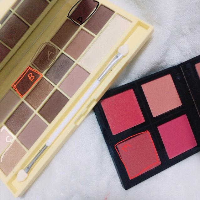 ♡使うアイシャドウ♡ アイラブメイクアップ →→  ネイキッド e.l.f →→  blush palette(dark)  A、ブラウン B、すこし赤みがかったブラウン C、ホワイトベージュ D、濃いマットブラウン E、深みのあるレッド