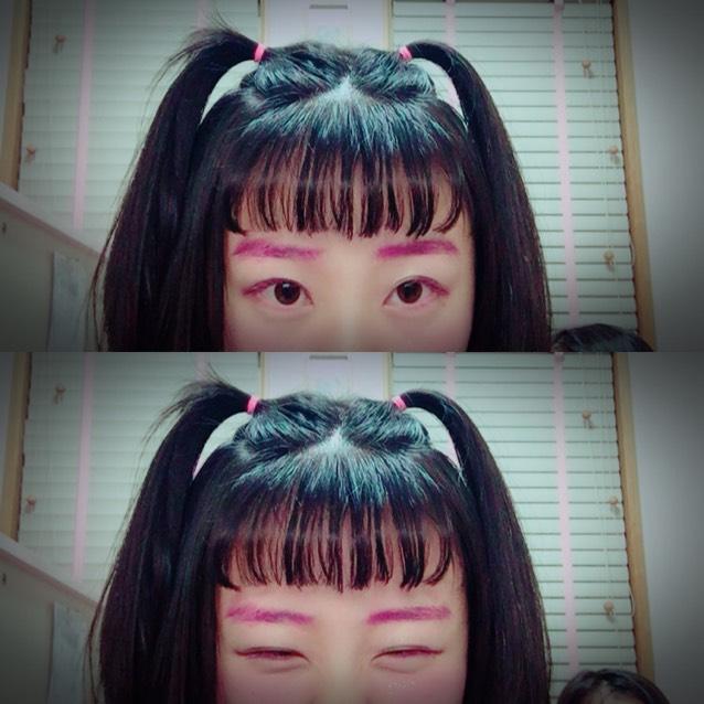 ピンクマスカラを眉毛に✧✧チークも濃いめで♥︎ラメのっける⋆