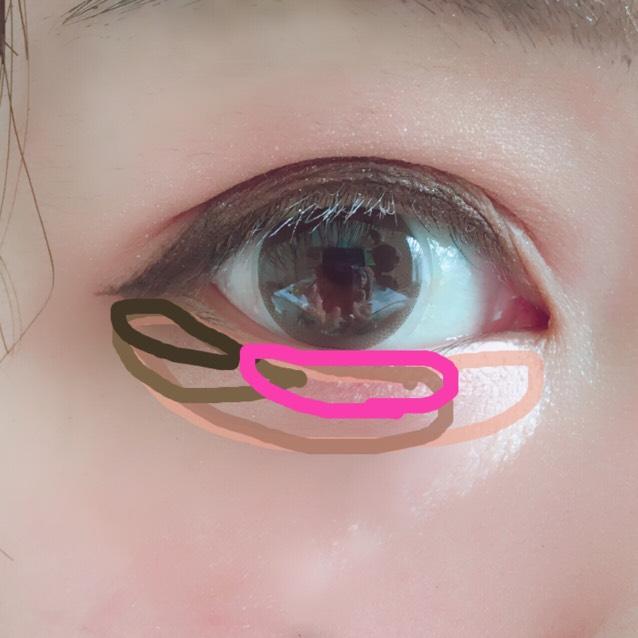 ピンクを薄めに黒目の幅に入れます