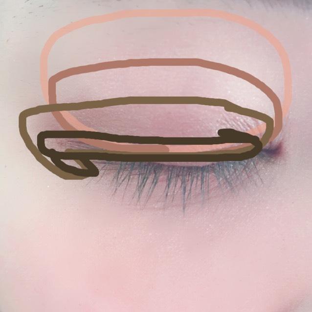 Dはアイラインを引く辺りに細く入れます。Cと同じく目尻側オーバー気味に。でもCよりは狭めに。下瞼目尻側も同様に