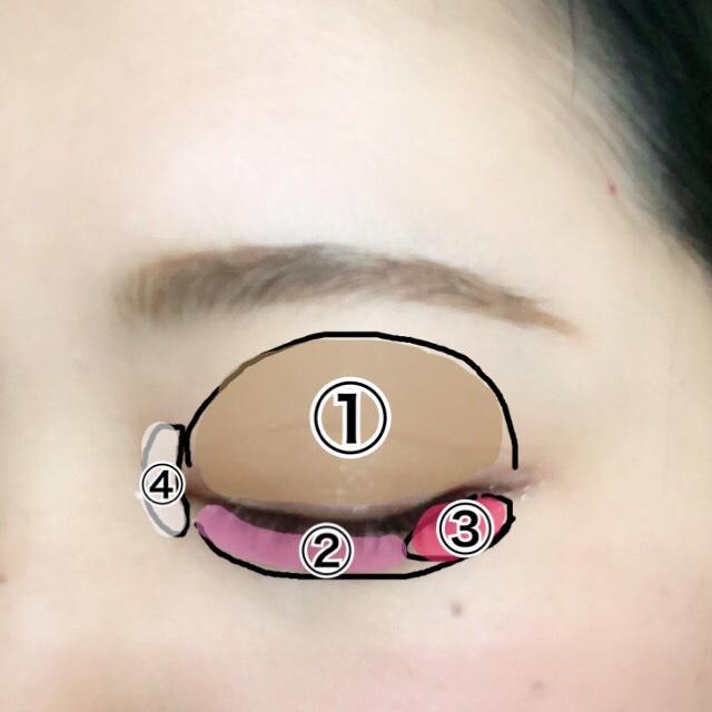 眉毛は平行に。 アイシャドウを図のように塗ります。 上まぶたは単色にすることで抜け感が出ます。