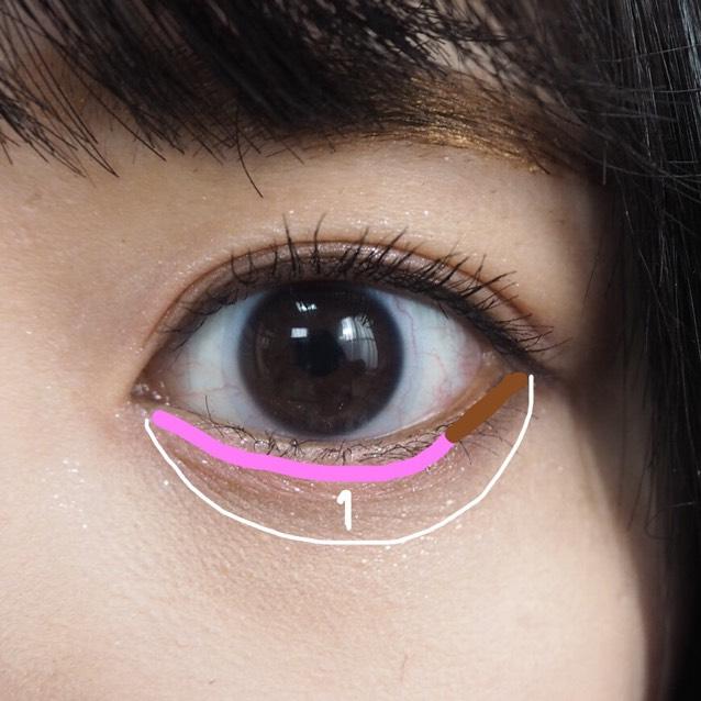 上まぶたに使ったジュエルスターアイズを涙袋全体に塗ります。   その後、二重幅に塗ったピンクを下まぶたのキワ(目頭〜黒目の外側くらいまで)に塗ります。  そして、キャンメイク パーフェクトスタイリストアイズ12の右下を下まぶたの目尻(ピンクを塗らなかったところ)に塗ります。