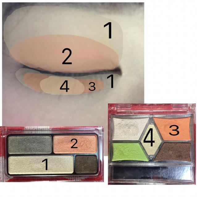 1の明るい色を眉下からアイホール全体と涙袋に、2の色を二重幅より少し広めに、3の色をうっすら色がつく程度に涙袋にいれ、最後に4の色を涙袋の中央にのせキラキラさせます。