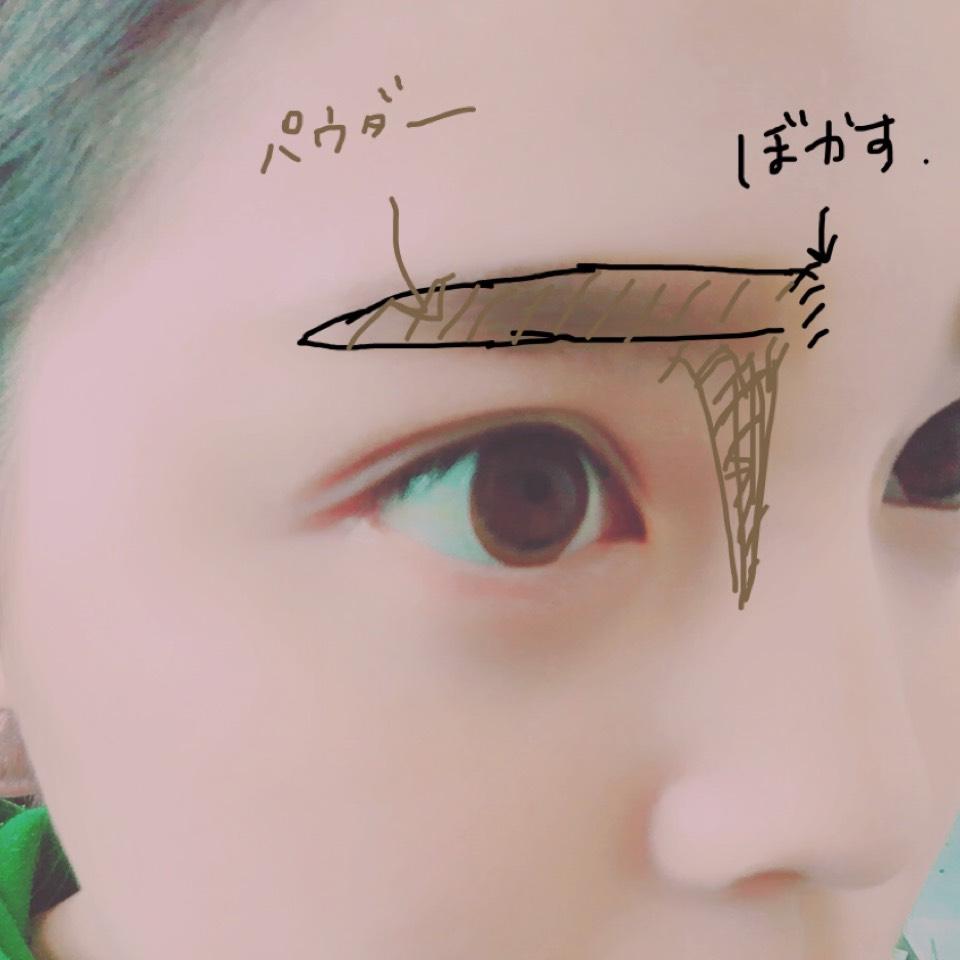 ◆ 眉毛はまずアイライナーで囲みを描きます。 そのあとにパウダーアイブロウをのせて全体的にボカします。 色がなじむのでオススメです。 わたしはそれと同時にノーズシャドウを入れてしまいます。