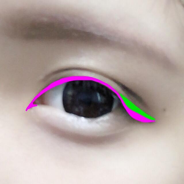ピンクをブラウンのアイラインで、黄緑を黒でかきます ブラウンなのでがっつり引いてもケバくならないです