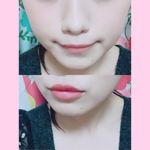 続いて チーク:ふわっとなるように頬の真ん中に塗る リップ:控えめなピンク色を塗る