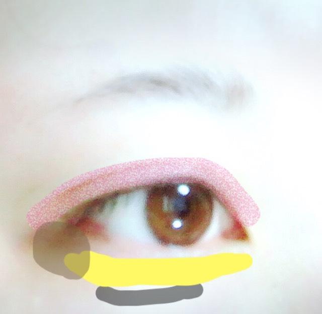 ピンクのところにMAYBELLINEのアイシャドウの濃ゆいピンク。 黄色のところにCANMAKEのクリームチーク。 薄茶色のところに ブラウンのアイシャドウ。 黄色の下の黒いところは アイブローで影を引きます(っ ॑꒳ ॑c)