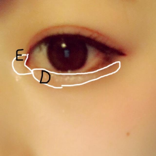 Dを涙袋全体に塗りEを目頭にくの字に塗り手で少しぼかします。 影は眉ペンシルで適当に描きました
