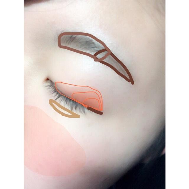 SUGAOのチーク&リップをアイシャドウ代わりに目尻が濃くなるようにグラデーションを作る。 エテュセのアイライナーで目尻だけラインをひく。 睫毛をビューラーであげてからDEJAVUのマスカラを目尻中心に塗る。  血色が足りないと思ったら薄くSUGAOのチークを塗る。