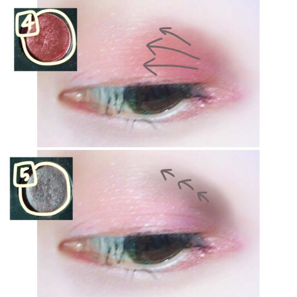 パレット④を目尻から入れていき、2/3ほどグラデーションにします。 そしてパレット⑤を目の窪みの下あたりに目尻から入れます。 最後にアディクションを目尻からまぶた半分フワッと入れて色をまとめます。
