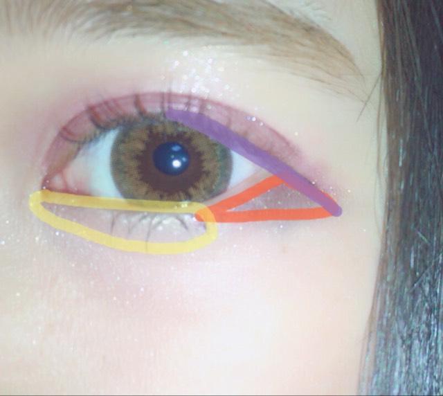 紫 アイラインはリキッドのブラウンでタレ目に!粘膜、目頭は何もしません  涙袋に黒目の終わりあたりまで少し濃いめに  目尻は三角にタレ目に塗ります