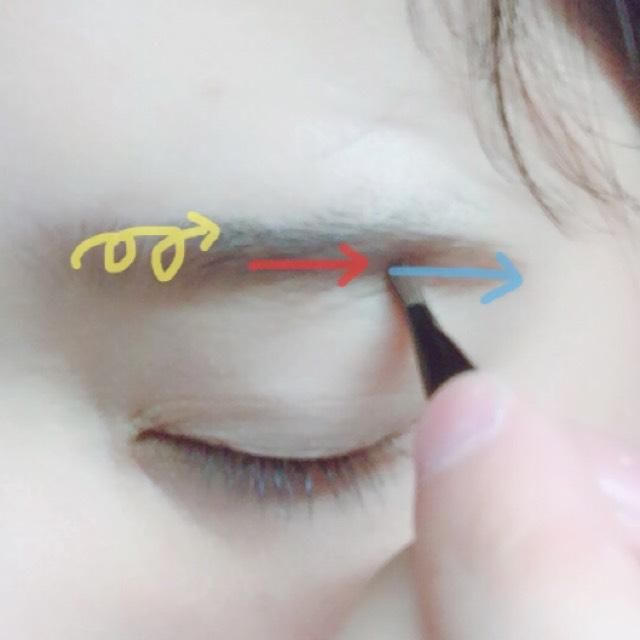 ①青 丁寧に眉尻を書きます!少し濃いめがOK ②赤 1本一歩丁寧に並行を意識 ③黄 太めのブラシでふんわりと薄めに!