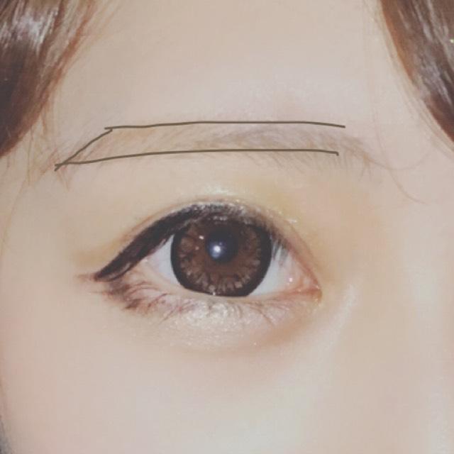 眉毛は... アイブロウペンシルで写真のように上と下を平行に、眉尻を下げるように囲います。