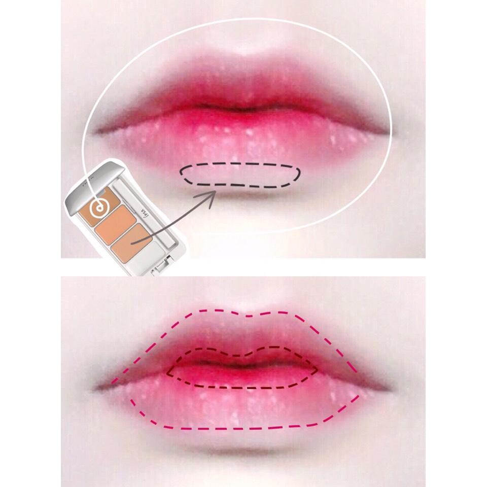コンシーラーで唇の色を消します。  そしてピンク(塗ったら軽くティッシュオフ)→赤→リップフィットでグラデリップに仕上げます◎  下を平らに意識して塗ることで可愛い唇になるかなと思ってやってます( ⸝⸝・໐・⸝⸝ )!