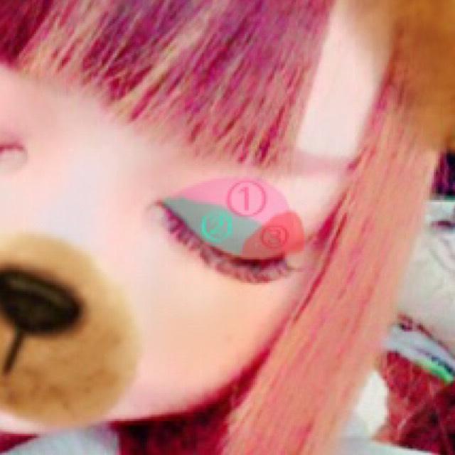ピンク→① 緑→② 赤→③ こんな感じでグラデをつくる