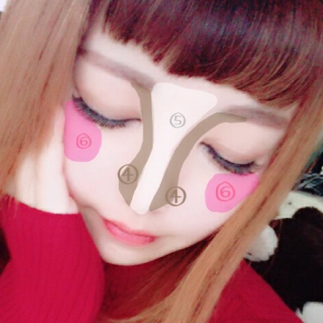 ④→はノーズシャドウで鼻筋をよく見せます ⑤→でハイライトを入れて更に鼻筋を綺麗に。 ⑥→チークを斜めにいれる