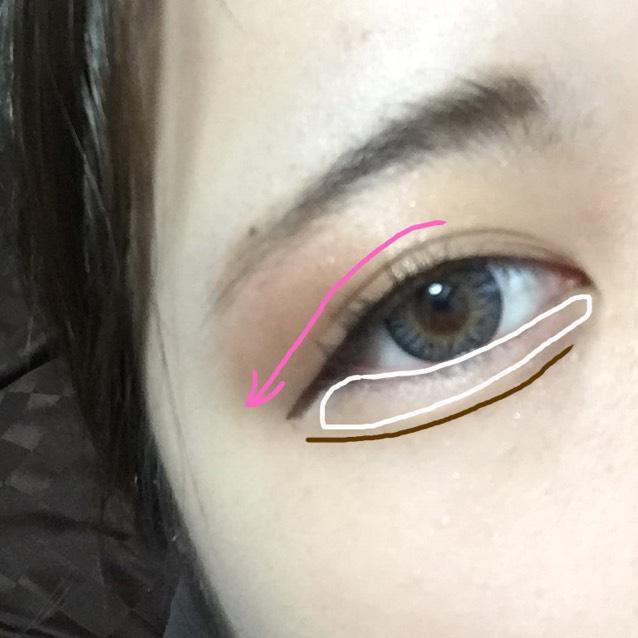 涙袋をくっきりさせるためハイライトを入れます。 KATEデザイニングアイブロウで涙袋の影を書くように線を引きます。 アイライナーは目を閉じて目頭から引き、目尻側は目を開けて引くと自然なラインになります。