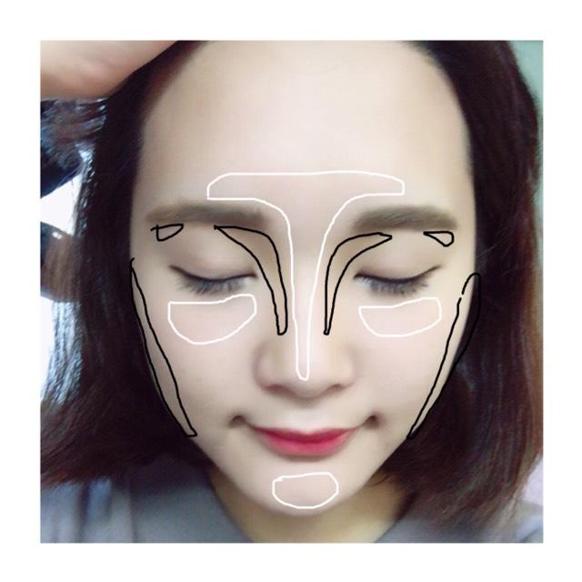 ①→黒 ②→白  を塗って顔の凹凸をくっきりさせる。