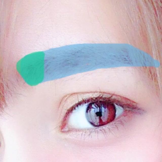 青:アイブロウライナーで眉の形に沿って眉を書いていきます。 緑:アイブロウパウダーで眉頭をぼかします