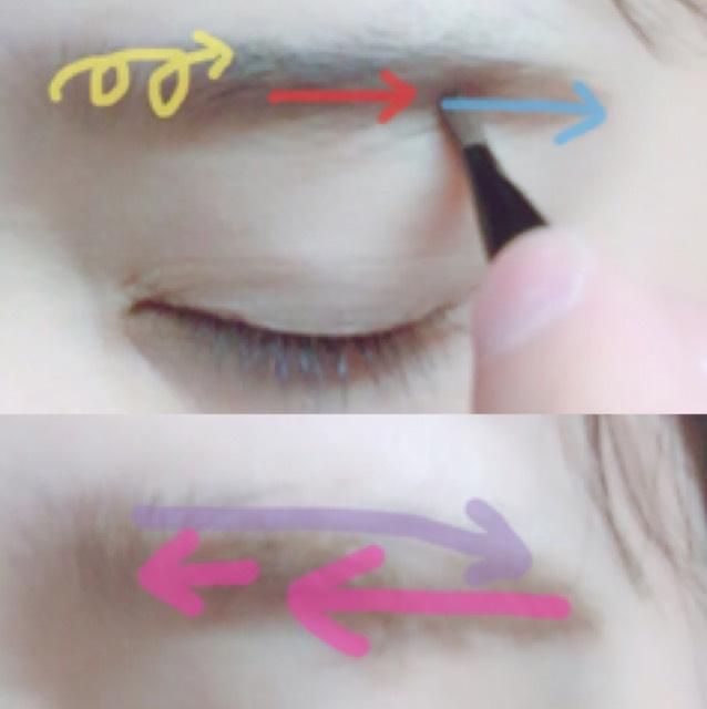 パウダーで形を整えます。 眉尻を細いブラシで眉頭を太いブラシでふわっと書きます。  マスカラは逆毛を立てるように塗り、毛に沿って形を整えます。 地肌にはつけないようにしてください。