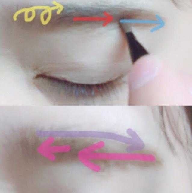 眉尻→中央→眉頭の順で塗ります。  マスカラは逆毛を立てるように塗り、毛の流れに沿って形を整える