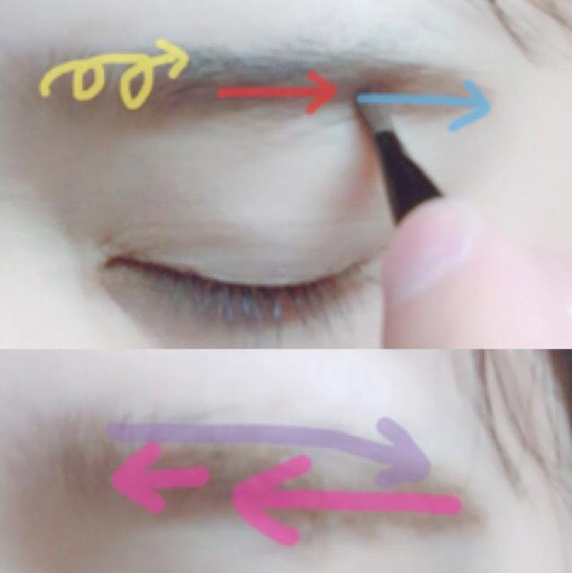 ベースメイクは仕上げてあります。 眉尻を細いブラシで書き、眉がしらを太いブラシでふわふわっとします。 マスカラは逆毛を立てるようにして毛の流れに沿って形を整えます。