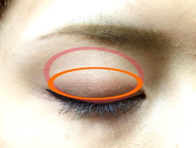 まず、アイホールと下瞼にアディクションのマリアージュを塗り、赤の◯の範囲に①.オレンジの範囲に②を塗ります。