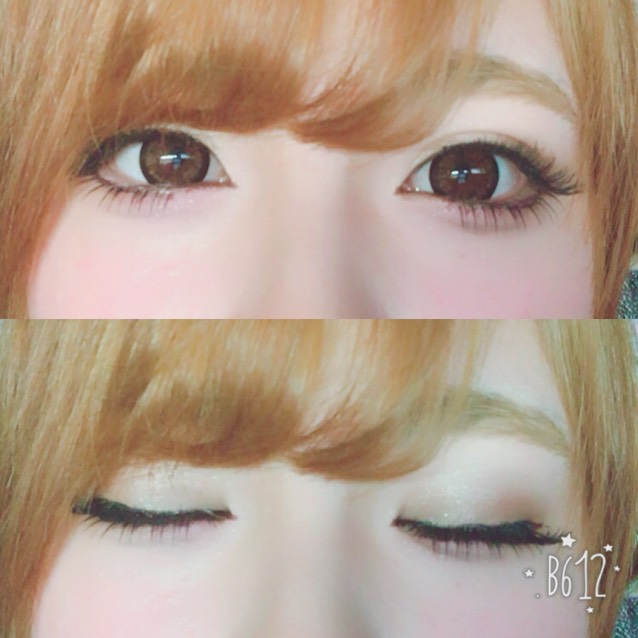 眉毛は平行にかいています。 アイシャドウは薄めの色をつかいます。目尻側だけ少し濃い色をのせてタレ目に見せていきます。