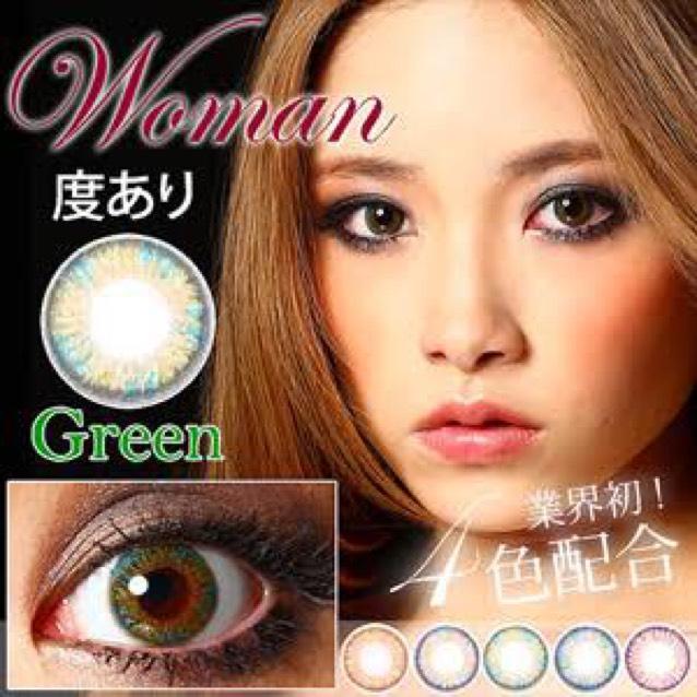 カラコンはウーマンのグリーンです  色部分が薄めで高発色ではないです 自然な感じで色が変わるかな〜って感じでした!
