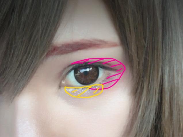 目を開けるとこんな感じになるようにした目尻もヴィセチークをしっかりのせます。 黄色の部分はアディクションのゴールドです。