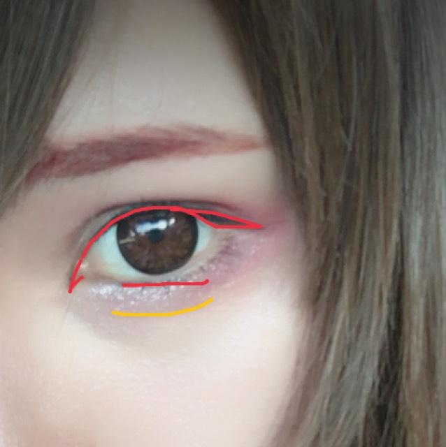アイライナーはリキッドで赤の部分のようにかきます。 ラインは細くです。 涙袋の線は茶色のペンシルアイライナーでかき綿棒でぼかします。