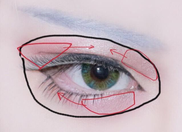 アイシャドウ 黒丸部分に広く指でクリームシャドウを塗り広げ、赤部分にピンクのアイシャドウを筆で置き、矢印方向に伸ばします